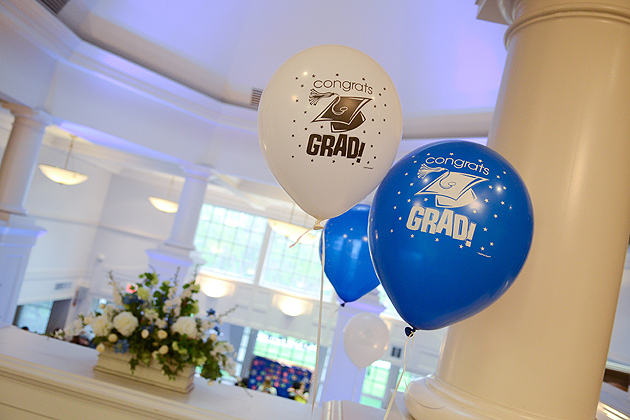 Graduation balloons at the Senior Block Party held in the Alumni Center on April 26, 2012. (Ariel Dowski/UConn Photo)