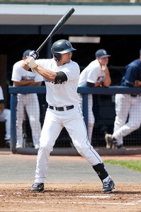 Junior infielder L. J. Mazzilli '13 (CLAS) is fulfilling preseason expectations at the plate and in the field. (Steve Slade '89 (SFA) for UConn)
