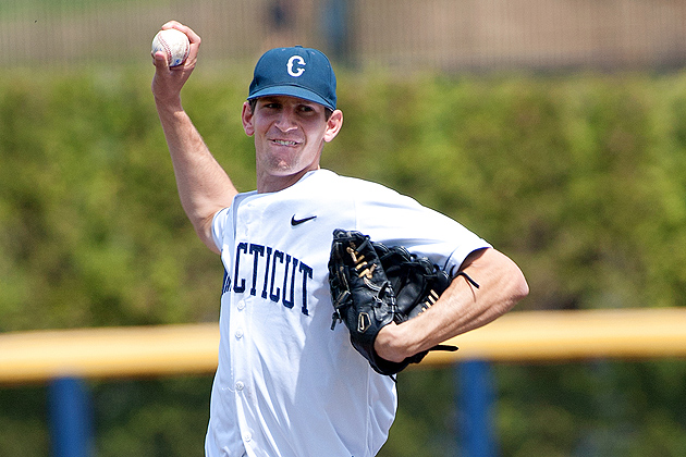 Senior Pitcher David Fisher '12 (CLAS) has struck out 43 batters in 2012. (Steve Slade for UConn)