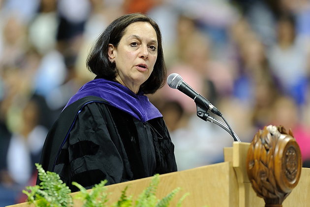 Joette Katz '€™77 JD, commissioner of the state Department of Children and Families, gives the address during the late afternoon CLAS commencement ceremony on May 6. (Peter Morenus/UConn Photo)