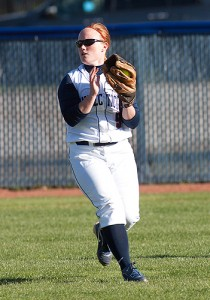 Utility fielder Amy Vaughan '12 (CLAS) primarily plays left field. (Steve Slade '89 (SFA) for UConn)