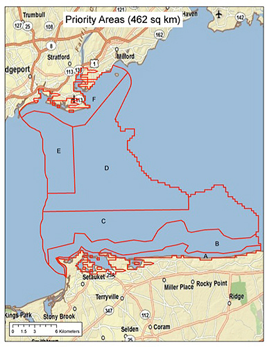A map of the areas to be sampled during the pilot Long Island Sound mapping project. (Image courtesy of Ivar Babb)