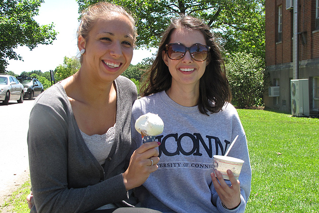 When they were told the Dairy Bar was going to stay open later every night, Rebekah Lohners '15 (CLAS), left, and Brittany LaRose '14 (CLAS) said in unison 'That will be great!'  (Sheila Foran/UConn Photo)