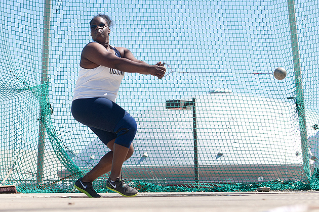 Hammer thrower Victoria Flowers, '12 (ED). (Steve Slade '89 (SFA) for UConn)