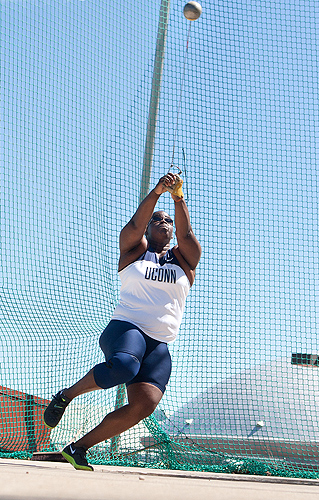 All-American Victoria Flowers '12 (ED) will compete in the hammer throw at the NCAA Championship Finals on June 6. (Steve Slade '89 (SFA) for UConn)