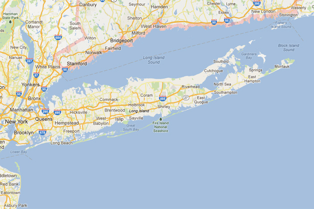 Map showing Long Island Sound.