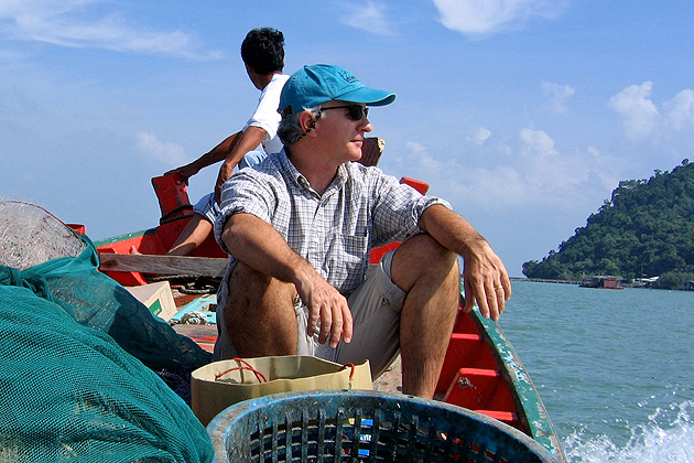 Robert Pomeroy is professor of agricultural and resource economics at Avery Point and world-renowned expert on small-scale fisheries management and policy. Here he is conducting research in Trang province, Andaman Sea, Thailand.