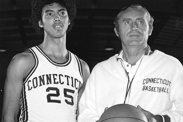 "UConn Men's Basketball Coach Donald ""Dee"" Rowe with Husky basketball star Tony Hanson, one of the program's first great four-year players."