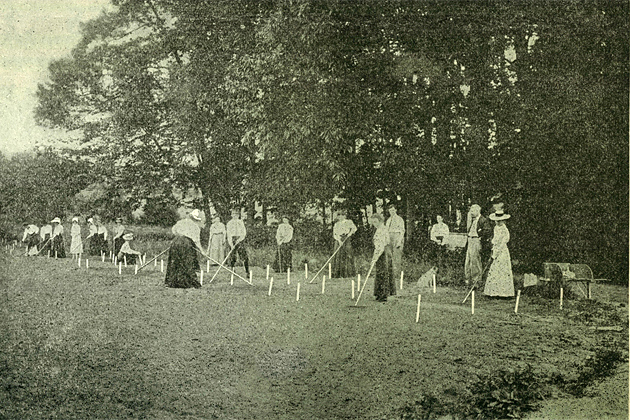 Farming in the early eighteen-nineties was considered to be a mansized job. But when twenty women enrolled in the courses of the Storrs Agricultural School the State Senate was shocked. The picture shows a class in gardening in the days when women were supposed to tend to the kitchen fires.