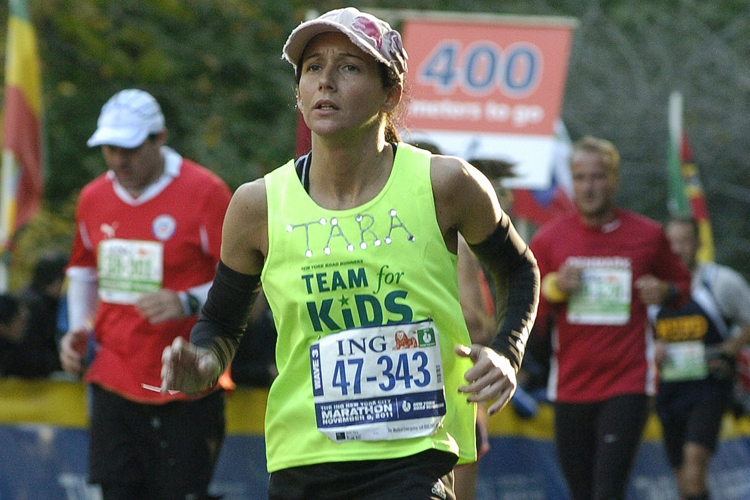Tara Zink running in the New York City Marathon