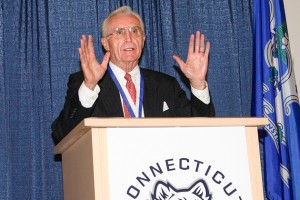 "Donald ""Dee"" Rowe, former head coach of UConn Men's Basketball, was presented with the University Medal, one of the University's highest honors, in 2007."