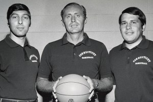 "Head men's basketball coach Donald ""Dee"" Rowe, center, with assistant coaches, Jim Valvano, left, and Bill Gaertner in a Nov. 1, 1971 photo."