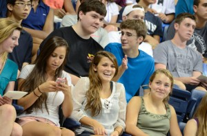 The start of a new adventure: incoming freshmen were welcomed at Convocation held in Gampel Pavilion on Friday. (Ariel Dowski '14 (CLAS)/UConn Photo)