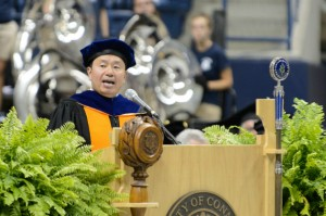 Interim Provost & Executive Vice President for Academic Affairs Mun Y. Choi had words of wisdom for members of the Class of 2016. (Peter Morenus/UConn Photo)