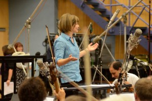 Conductor JoAnn Falletta greets the London Symphony Orchestra as they prepare to record Atlantic Riband. (Photo courtesy of Kenneth Fuchs)