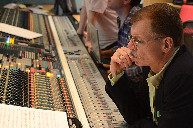 Tim Handley (producer), Jonathan Allen (engineer), and Kenneth Fuchs listen to the London Symphony Orchestra record Concerto Grosso, Abbey Road Studio 1 control room, August 19, 2011. (Photo courtesy of Kenneth Fuchs)