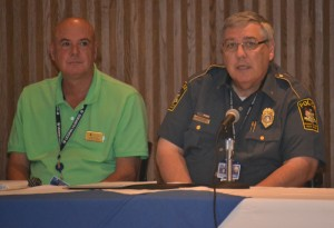 (left to right) Keith Inrig, chair of the Parking Alternatives Workgroup, and Deputy Police Chief Ray Bouchard
