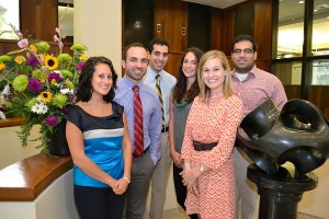 (left to right) Melissa Dion, Ryan Chauncey, Kashif Ather, Liza Karamessinis, Christina Toutoungi, and Vivek Alaigh are admissions office student volunteers for Second Look Weekend. (Tina Encarnacion/UConn Health Center Photo)