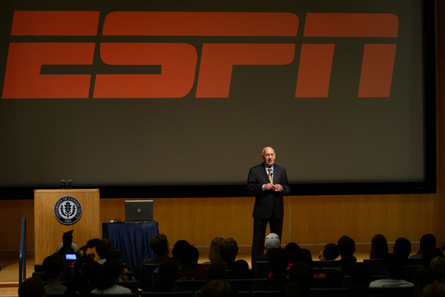 Bill Rasmussen, center, co-founder and first president and CEO of ESPN, speaks about the birth of ESPN, leadership and entrepreneurship at the Student Union on Sept. 13, 2012. (Peter Morenus/UConn Photo)