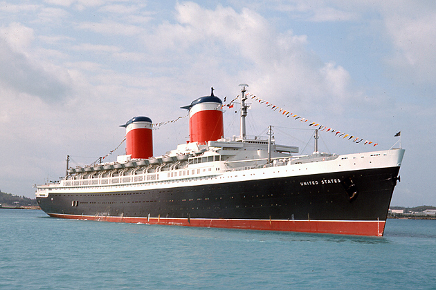 SS United States off St. Thomas, 1966. (Courtesy Nick Landiak and the SS United States Conservancy.)