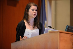 Kaila Manca gives her Holster First Year Projects presentation at Konover Auditorium on Sept. 20, 2012. (Peter Morenus/UConn Photo)
