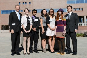 Robert Holster '68 (CLAS), at left, shown with Holster Scholars Julianne Norton, Lior Trestman, Xiao Li, Kaila Manka, Kaitrin Acuna, and Xu Zheng. (Peter Morenus/UConn Photo)