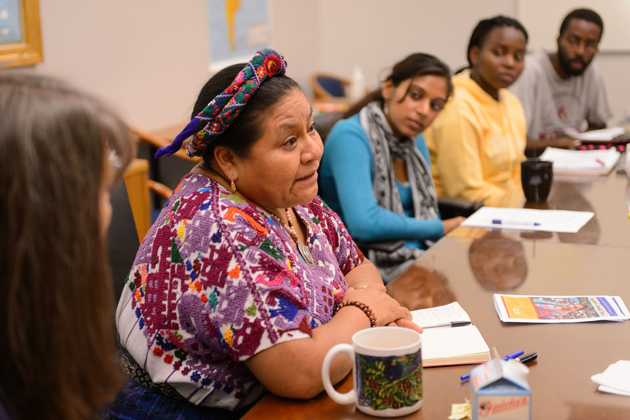Rigoberta Menchú Tum speaks with students at El Instituto in the Ryan Building on Sept. 11, 2012. (Peter Morenus/UConn Photo)