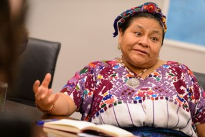 Rigoberta Menchú Tum speaks with students. (Peter Morenus/UConn Photo)