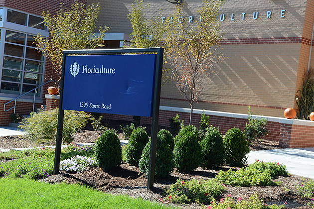In addition to structural renovations, the Floriculture Building has new landscaping along Route 195. (Ariel Dowski '14 (CLAS)/UConn Photo)