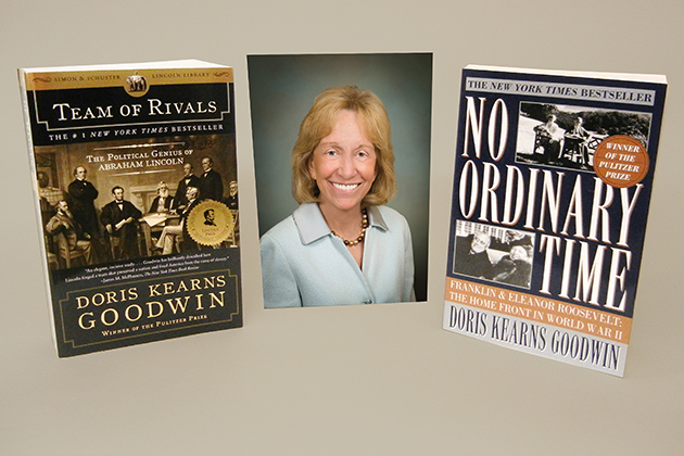 Noted author and presidential historian Doris Kearns Goodwin with two of her books.