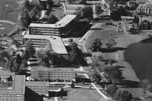 Arjona and Monteith Buildings, center, were constructed in 1959 during the presidency of Albert Jorgensen. (Photo from Archives & Special Collections, Dodd Research Center, University Libraries)