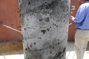 Cracking is seen in a conventional column after blast loading. (Courtesy of the School of Engineering)
