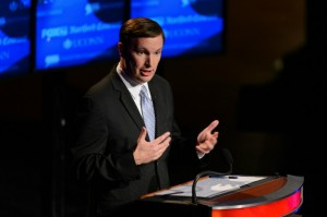 Chris Murphy speaks during the U.S. Senate debate at the Jorgensen Center for the Performing Arts at the University of Connecticut on Oct. 11, 2012. (Peter Morenus/UConn Photo)