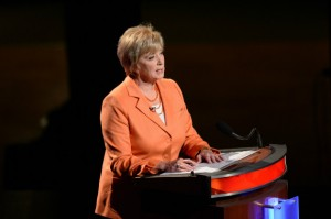 -- Linda McMahon speaks during the U.S. senate debate at the Jorgensen Center for the Performing Arts at the University of Connecticut on Oct. 11, 2012. (Peter Morenus/UConn Photo)