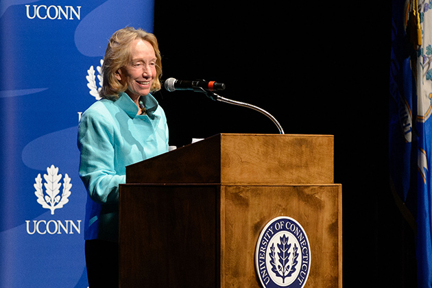 Doris Kearns Goodwin's appearance was the opening presentation of the Edmund Fusco Contemporary Issues Forum. (Peter Morenus/UConn Photo)