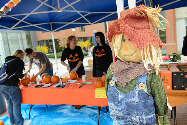 Alpha Lamda Delta hosts Pumpkinrest where students decorate pumpkins and raise money for the Omen Leukemia and Lymphoma society on Fairfield Way on Oct. 26, 2012. (Ariel Dowski/UConn Photo)