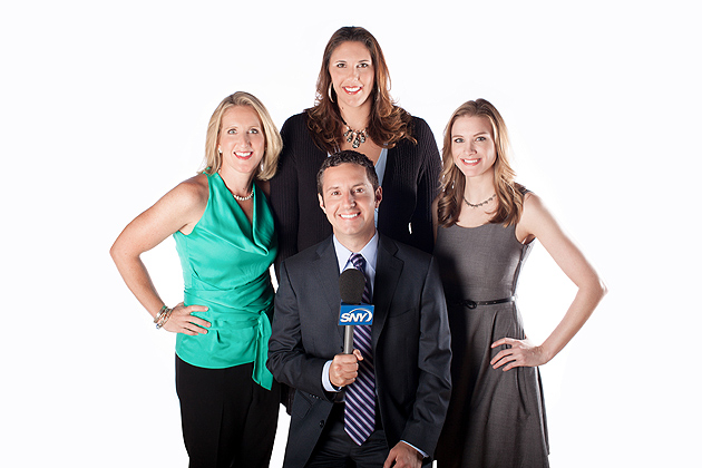 Meghan Pattyson Culmo '92 (CLAS), Kara Wolters '97 (CLAS), Andrew Catalon, and Kerith Burke are members of the SNY team that will televise women's basketball games, beginning Nov.11. (Photo courtesy of SNY)