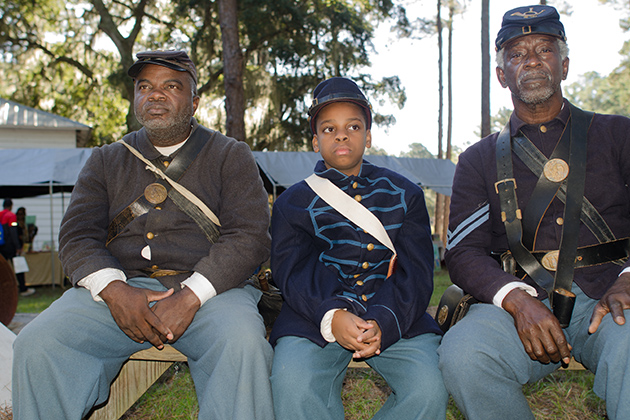 Members of the Gullah community fought with the Buffalo Soldiers during the Civil War. Today, the current Gullah community continues to participate in reenactments of historic events. (Photo courtesy of Mary Ellen Junda)