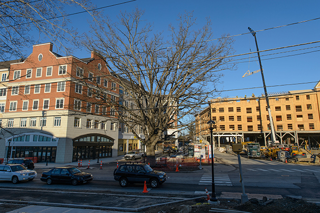 A view of 1 Dog Lane, left, 9 Dog Lane and 1 Royce Circle at the new Storrs Center on Nov. 14, 2012. (Peter Morenus/UConn Photo)
