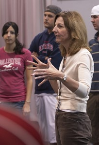Mary Ellen Junda, professor of music, teaches a singing class. (Peter Morenus/UConn Photo)
