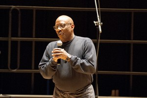 Music department head Dr. Robert Stephens speaks at the Voices of Freedom Reunion at von der Mehden Recital Hall on April 14, 2012. (Ariel Dowski/UConn Photo)