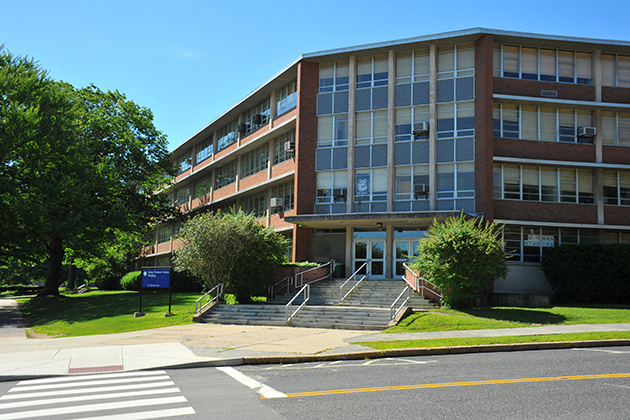 An exterior view of the Jaime Homero Arjona Building. (Peter Morenus/UConn Photo)