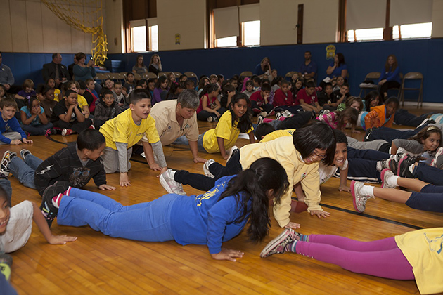 Children at the Roger Sherman Elementary School were eager to get started with the 'motion' part of the program. (Photo courtesy of Meriden Board of Education)