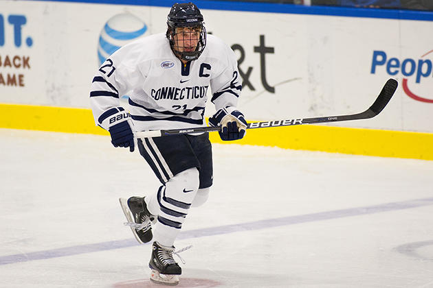 Senior co-captain Sean Ambrosie '13 (BUS) is the Huskies' leading scorer. (Steve Slade '89 (SFA) for UConn)