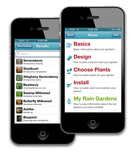 Rain garden app - screen shots on an iPhone.