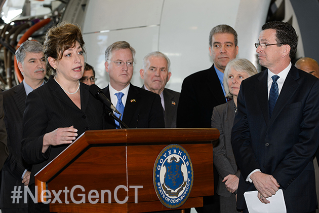 President Susan Herbst speaks at the launch of the Next Generation Connecticut initiative. (Peter Morenus/UConn Photo)