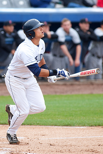 All-American second baseman L.J. Mazzilli '13 (CLAS) is the team's leading hitter. (Steve Slade '89 (SFA) for UConn)