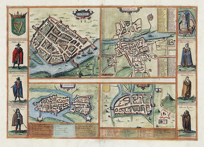 Map showing Ireland's major cities of Galway, Cork, Dublin, and Limerick. Civitates Orbis Terrarum, Cologne: Anton Hierat & Abraham Hogenberg, 1618? (Courtesy of the Folger Shakespeare Library)