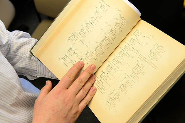 Translating Frege's two-volume, 600-page work calls for fluency in both German and English, and an understanding of philosophy and mathematics. (Peter Morenus/UConn Photo)