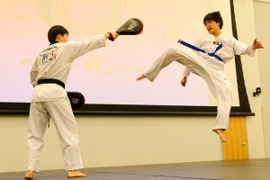 Members of T-Huskies give a Tae Kwon Do demonstration at the Lunar New Years Celebration at the Student Union on March1, 2013. (Max Sinton '15 (CANR)/UConn Photo)